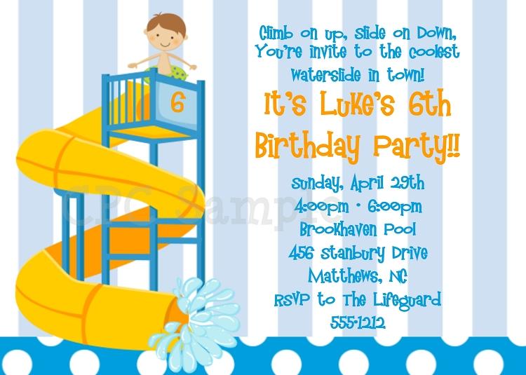 water slide pool party invitations printable or printed
