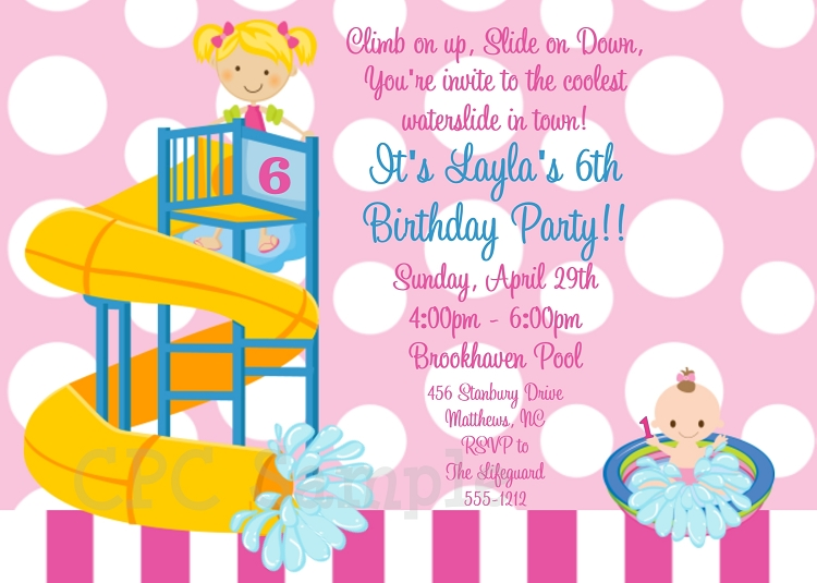 Twins or Siblings Waterslide – Water Slide Party Invitations