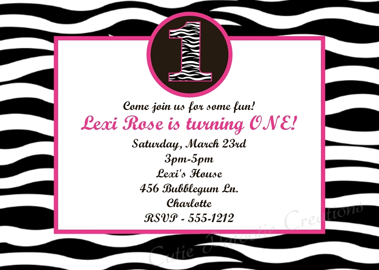 zebra print 1st birthday invitations, Birthday invitations