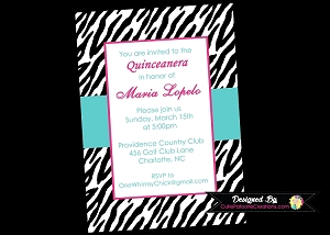 Zebra Print Quinceanera Invitations - 15th Birthday Celebration