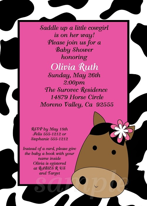 Pink cow print horse baby shower invitations filmwisefo