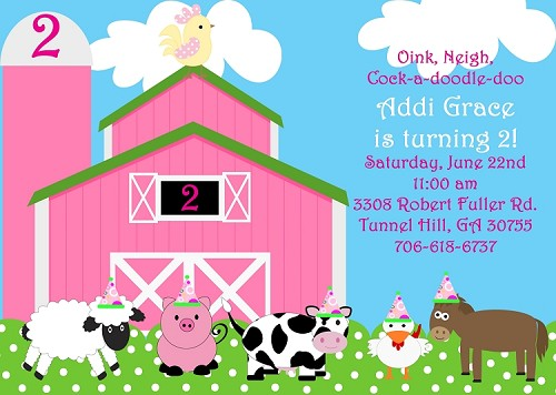 Girls Pink Farm Birthday Party Invitation - Printable