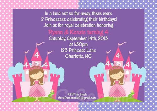 Pink and purple princess birthday invitation for twins or siblings stopboris Image collections