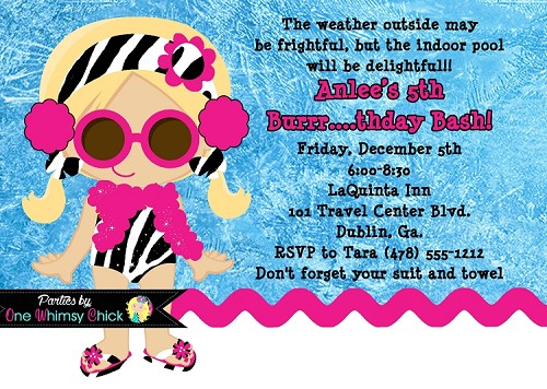 Winter Pool Party Invitations Zebra Print - Printable or Printed