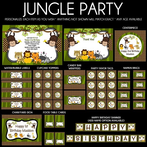 Jungle Safari Birthday Invitations Party Decorations
