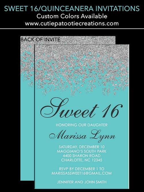 Tiffany Blue Sweet 16 Invitations Quinceanera Invitation