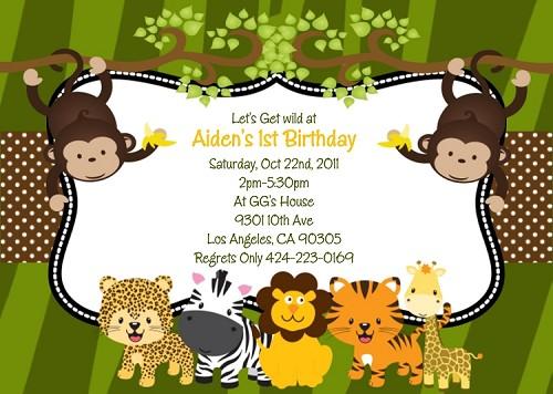 Jungle safari animals birthday party invitations stopboris Image collections