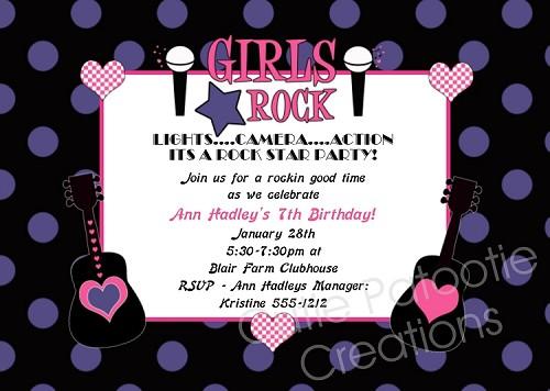 Girls rockstar birthday party invitations printable or printed stopboris Choice Image