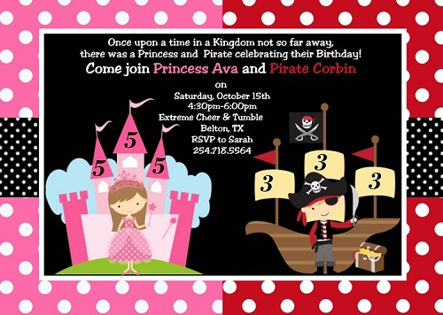 Princess and Pirate Birthday Invitations - Printable or Printed