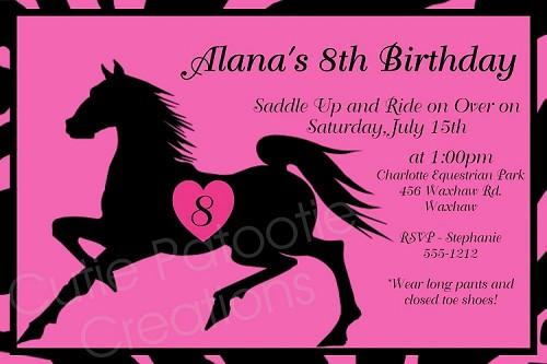 Black stallion horse birthday invitation printable or printed filmwisefo