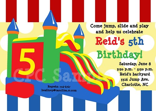 Bounce house castle birthday party invitations stopboris Images