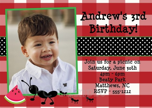 Personalized ants on a picnic themed birthday invitation for kids ants on a picnic birthday party invitations filmwisefo Image collections