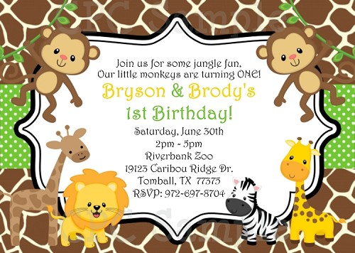 Jungle birthday party invitations twin boys stopboris Image collections
