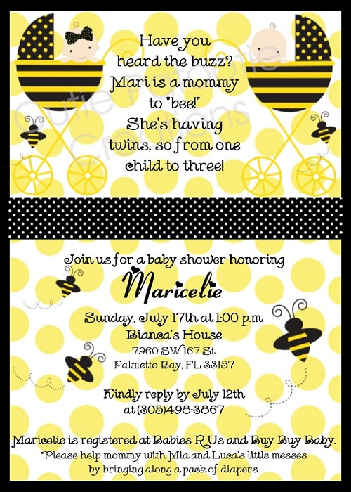 Bumble bee baby shower invitations for twins filmwisefo