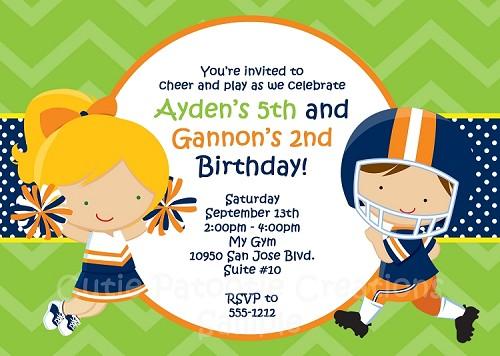 Cheerleader football birthday party invitations filmwisefo