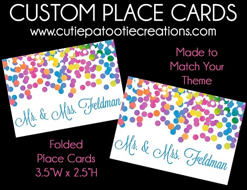 custom personalized rainbow confetti place cards for bar and bat mitzvah sweet 16 or wedding - Custom Place Cards