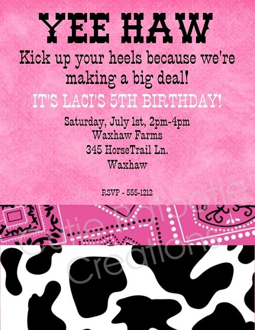 Pink cow print birthday party invitation printable or printed filmwisefo