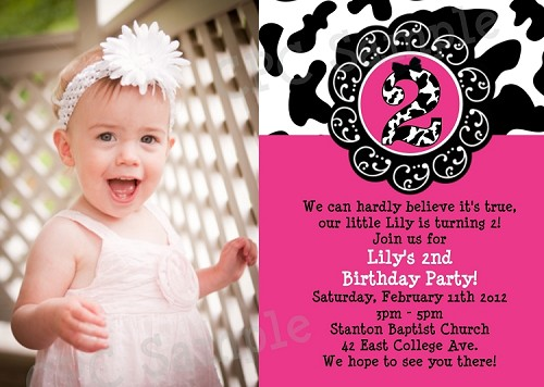 Cow print photo 1st birthday party invitations filmwisefo