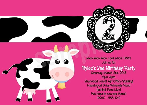 cow birthday party invitations