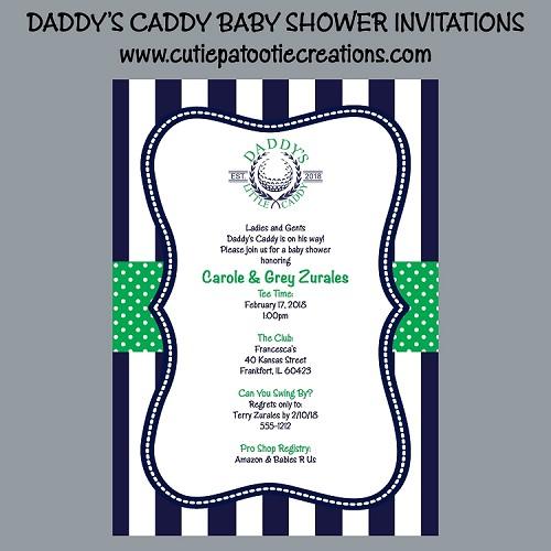 Golf theme daddys little caddy baby shower invitations filmwisefo