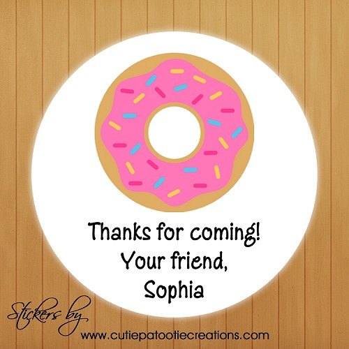 personalized donut stickers gift tags gift stickers party