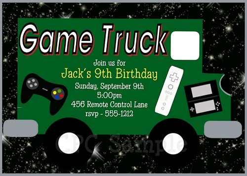 Video game truck birthday party invitations stopboris Image collections