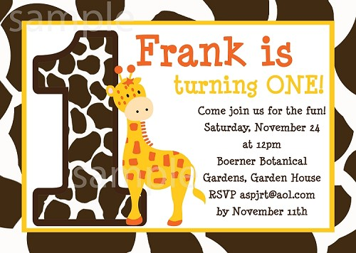 jungle giraffe birthday party invitations