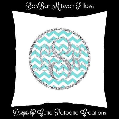 Tiffany Blue And Silver Monogram Bat Mitzvah Lounge Pillow