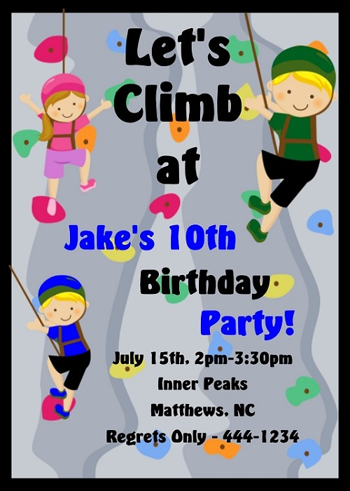 Rock climbing sports birthday invitations for girls or boys rock climbing sports birthday invitations for girls or boys printable or printed filmwisefo