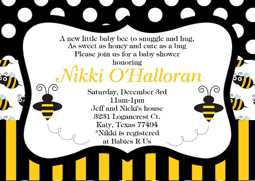 Bumble bee baby shower invitations filmwisefo