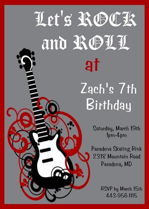 Boys rockstar guitar birthday party invitations printable or printed filmwisefo