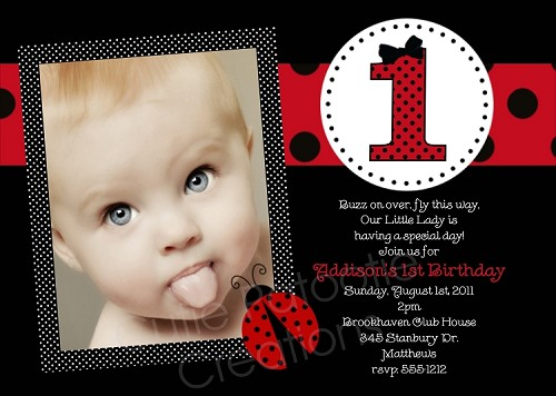 Red and black polka dot ladybug birthday invitations with photo filmwisefo Choice Image