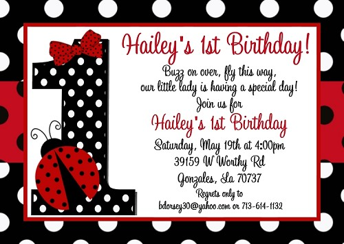 Ladybug 1st birthday invitations filmwisefo Gallery