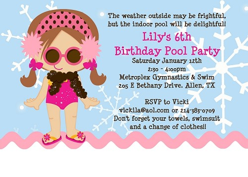 Winter Pool Party Invitations - Printable or Printed