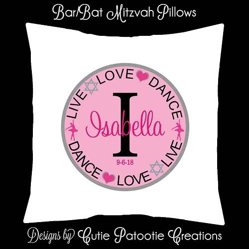 live love dance lounge furniture pillow bat mitzvah sign in pillow