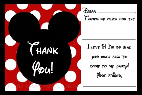 Mickey Mouse Thank You Cards - Printable Digital