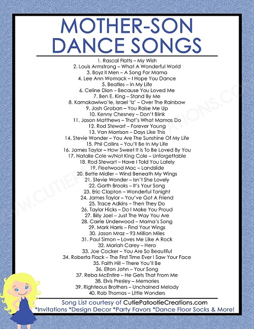 FREE Printable List Of Top 40 Mother Son Dance Songs For Bar Mitzvah And Weddings