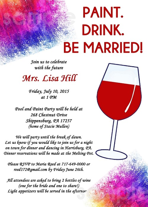 Wine and painting party bachelorette party invitations for Wine paint party