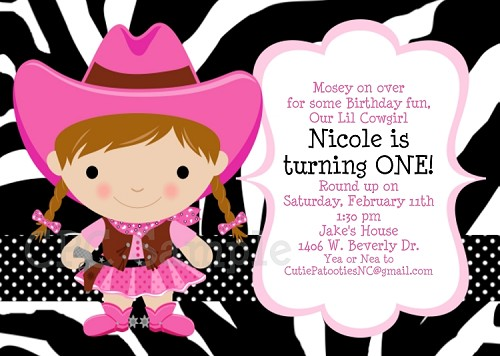 Cowgirl Birthday Invitations Printable Party Invite