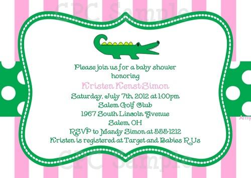 Preppy pink and green alligator birthday invitations filmwisefo