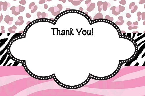 pink leopard zebra print thank you cards