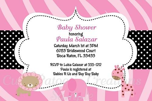 Girl safari baby shower invitations filmwisefo