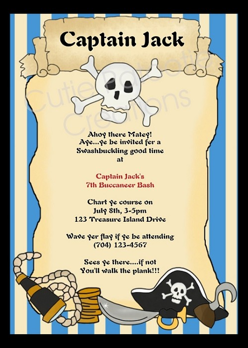 Pirate birthday invitation printable or printed party invite filmwisefo