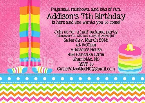Rainbow chevron pajamas and pancakes birthday invitations filmwisefo
