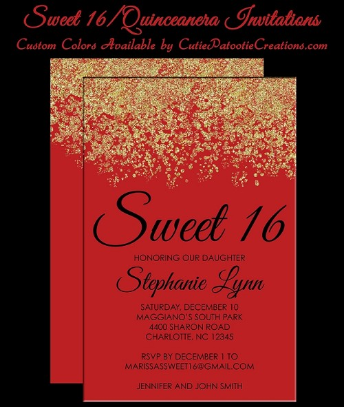 red gold faux glitter sparkle sweet 16 birthday party invitations