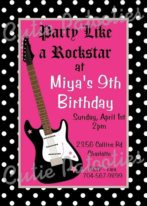girls rockstar dance party birthday invitations printable or printed