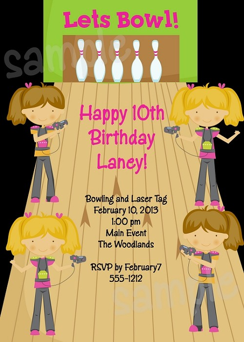 Laser tag bowling birthday party invitation for girls filmwisefo