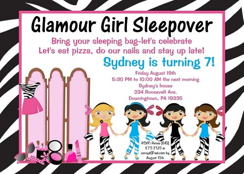 glamour girl birthday party invitations sleepover invitations