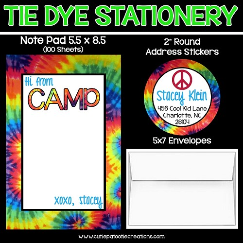 Tie dye personalized custom notepads stationery stickers