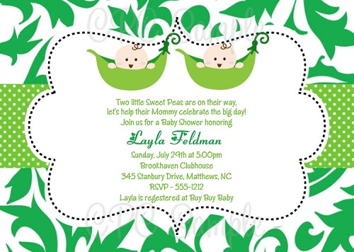 Baby shower invitations for twins featuring pea in the pod graphics twins pea in the pod baby shower invitation filmwisefo